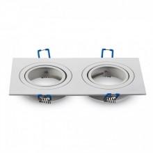 Zweifacher Aluminium Rahmen für Glühlampen eckig/weiß
