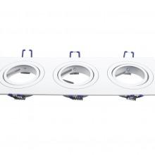 Dreifacher Aluminium Rahmen für Glühlampen eckig/weiß