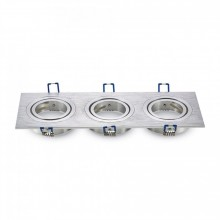 Dreifacher Aluminium Rahmen für Glühlampen eckig