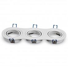 Dreifacher Aluminium Rahmen für Glühlampen rund/weiß