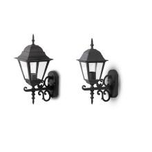 Außenwandleuchte Laterne für E27 LED-Lampen (2 Großen), schwarz matt