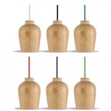 Holz Hängeleuchte mit färbigem Kabel (6 Farben)